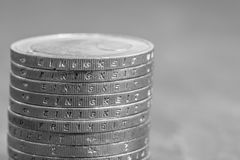 与德国词-团结的被堆积的欧洲硬币 库存图片