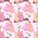 与心形和花纹花样的逗人喜爱的夫妇猪 库存例证