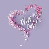 与心形桃红色的花的母亲节卡片 库存图片