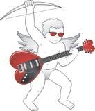 与心形的吉他的丘比特 库存图片