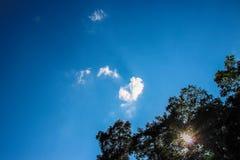与心脏云彩的蓝天 免版税库存照片