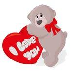 与心脏传染媒介的逗人喜爱的玩具熊 免版税库存图片