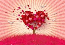 与心脏叶子的爱护树木 向量例证