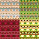 与心脏和三角的舒适纹理在四种颜色 向量例证