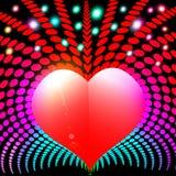 与心脏和光芒光谱的抽象背景 免版税库存图片