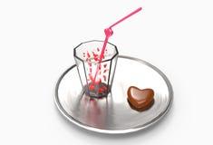 与心脏和巧克力的饮料 免版税库存图片