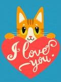与心脏和文本的被迷恋的猫我爱你 手拉的激动人心和令人鼓舞行情 免版税库存照片
