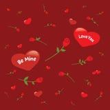 与心脏和玫瑰的背景 免版税图库摄影