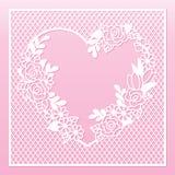 与心脏和玫瑰的透雕细工花卉框架 激光切口模板 库存图片