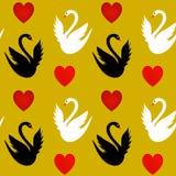 与心脏和白色和黑天鹅的无缝的纹理 免版税库存照片