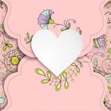 与心脏和花卉样式的葡萄酒卡片 库存图片