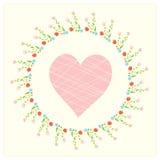 与心脏和花卉框架的华伦泰卡片 免版税库存图片