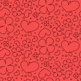 与心脏和花的无缝的样式 向量例证