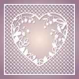 与心脏和铃兰的透雕细工方形的卡片 激光 免版税库存图片