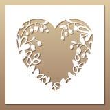 与心脏和铃兰的透雕细工方形的卡片 激光 图库摄影
