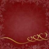 与心脏和雪花的红色圣诞节背景 免版税库存图片
