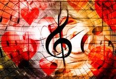 与心脏和音乐笔记和音乐谱号的美好的拼贴画, symbolizining爱对音乐 向量例证