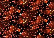 与心脏和bokeh的无缝的豪华纹理闪耀 图库摄影