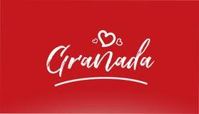 与心脏商标的格拉纳达白色市手书面文本在红色背景 向量例证