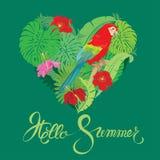与心脏形状、棕榈树叶子和红色蓝色M的季节性卡片 库存图片