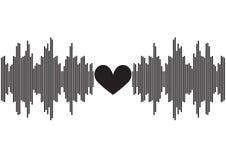 与心脏形状的声波在中心|音乐调平器设计声音 |数字技术信号波形 免版税库存照片