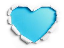与心脏形状的白色被撕毁的纸 库存照片