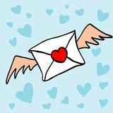 与心脏形状的邮票和翼的信件 免版税库存照片