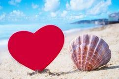 与心脏形状的贝壳由海洋 免版税库存照片