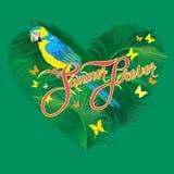 与心脏形状,棕榈树叶子和黄色蓝色的季节性卡片 库存图片