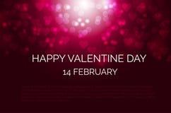 与心脏形状bokeh的欢乐深红背景为情人节 库存照片
