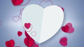 与心脏微粒的白色心脏形状卡片动画流动 皇族释放例证