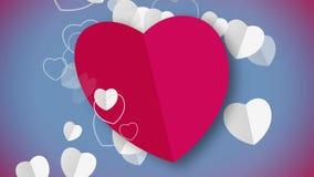 与心脏微粒的红色心脏形状卡片动画流动 向量例证