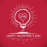 与心脏想法概念的电灯泡愉快的情人节卡片的在Ve 向量例证