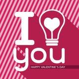 与心脏想法概念的电灯泡愉快的情人节卡片的在Ve 库存例证