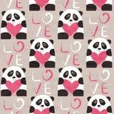 与心脏无缝的样式的熊猫 图库摄影