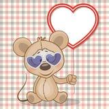 与心脏框架的老鼠 免版税图库摄影