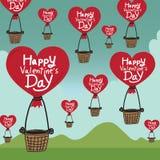 与心脏气球的愉快的情人节 向量例证