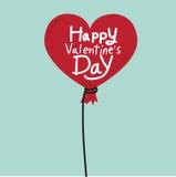 与心脏气球的愉快的情人节 库存例证