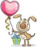 与心脏气球的狗 免版税库存照片