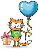 与心脏气球的猫 库存照片