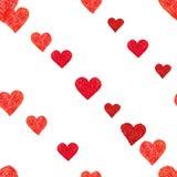 与心脏的乱画无缝的样式 免版税库存图片