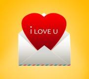 与心脏的信封为情人节 向量例证