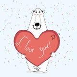与心脏的华伦泰熊 免版税库存照片