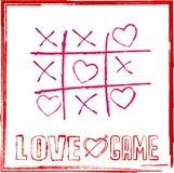 与心脏的华伦泰` s天卡片tic TAC脚趾比赛爱概念比赛的  免版税库存图片