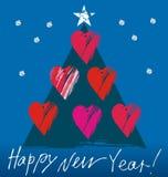 与心脏的圣诞树 库存图片