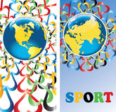 与心脏的地球在奥林匹克colors.Banners.Vector 库存照片