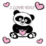 与心脏的小的逗人喜爱的熊猫,隔绝在白色 库存图片