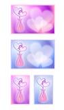 与心脏的情人节卡片 爱的动画片图象 图象的一汇集 免版税库存图片