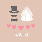 与心脏的愉快的婚礼之日卡片传染媒介例证 免版税图库摄影