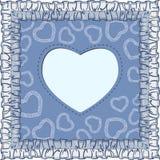 与心脏的愉快的情人节卡片在蓝色背景 库存照片